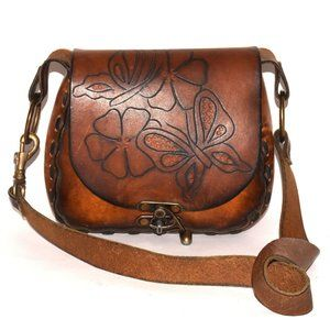 Vintage 70s Carved TOOLED Leather BUTTERFLY Crossb